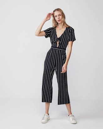Express Stripe Tie Front Jumpsuit