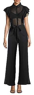 Nightcap Clothing Women's Pinstripe Ruffle Jumpsuit