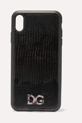 Dolce & Gabbana Crystal-embellished Lizard-effect Leather Iphone Xs Max Case - Black