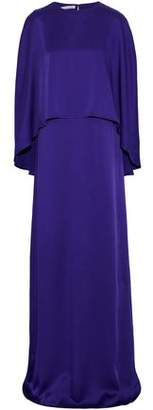 Oscar de la Renta Draped Layered Satin Gown