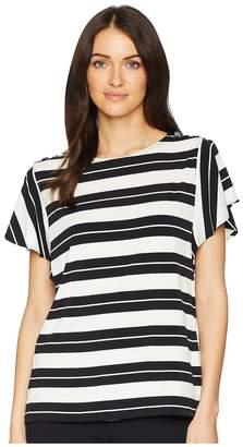 Calvin Klein Printed Flutter Sleeve Top w/ Buttons Women's Clothing