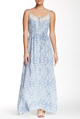 Love Stitch Lace Inset Button Front Maxi Dress