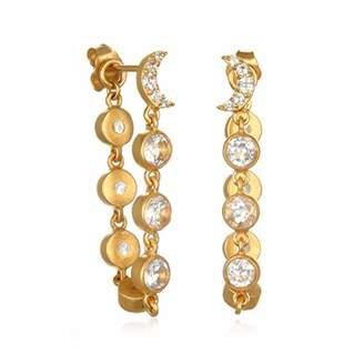 Satya Jewelry Women's White Topaz Moon Jacket Earrings