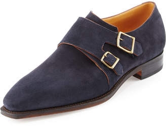 Arca Corthay Suede Double-Monk Shoe, Navy