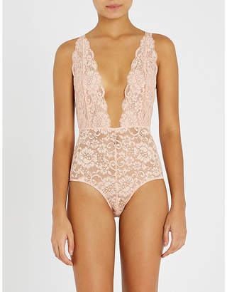 HOT AS HELL Comin' in Haht stretch-lace bodysuit