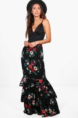 boohoo Lola Ruffle Hem Floral Woven Maxi Skirt