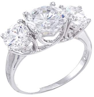 Kenneth Jay Lane CZ By Round CZ Triple Stone Ring