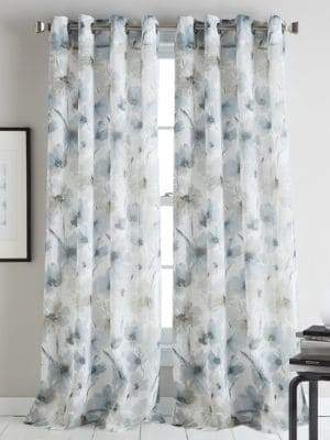 DKNY Modern Bloom Floral Printed Curtain Panel 63in