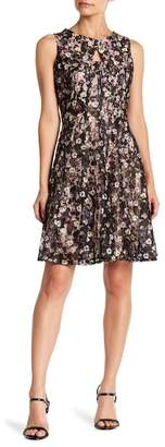 Gabby Skye Front Cutout Floral Print Lace Dress