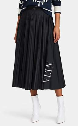 Valentino Women's Logo Pleated Midi-Skirt - Black