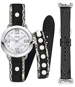 ed64a455d077 Fendi Women's Selleria Stainless Steel Interchangeable Mother-Of-Pearl &  Leather Strap Watch Set