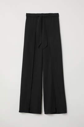 H&M Wide-leg Pants with Slits - Black
