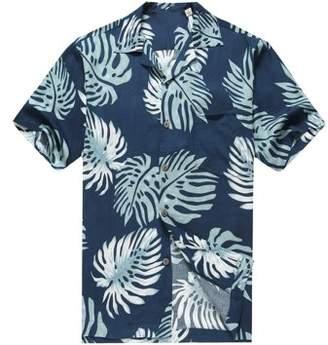 Hawaii Hangover Men's Hawaiian Shirt Aloha Shirt 3XL Palm Leaves in Navy Blue