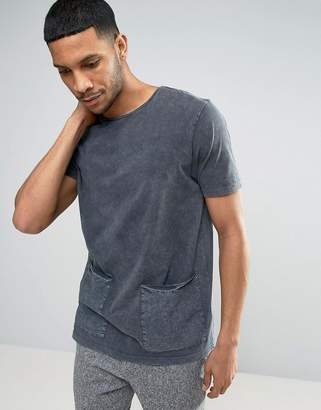 Asos Longline T-Shirt With Woven Pockets And Acid Wash