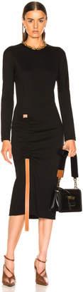 Loewe Bodycon Leather Strap Dress in Black | FWRD