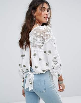 Free People Carolina Mindset Embroidered Top