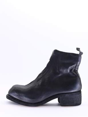 Guidi Black Leather Ankle Boot