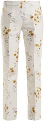 Giambattista Valli Flared-leg floral-jacquard twill trousers