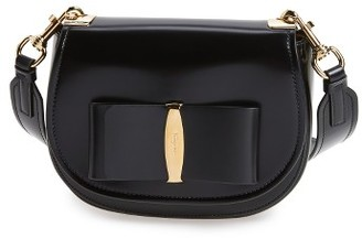 Salvatore Ferragamo Anna Vara Leather Crossbody Bag - Black $1,350 thestylecure.com