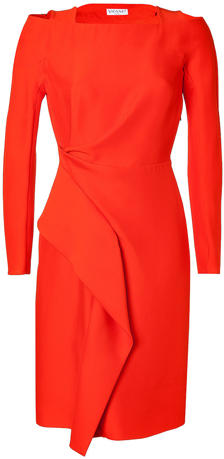 Vionnet Silk Blend Draped Dress in Coral