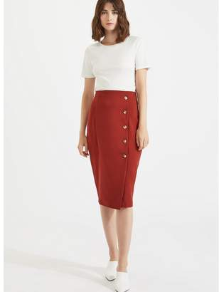 Miss Selfridge Button Pencil Skirt