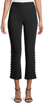 Cinq à Sept Lida Cropped Side-Button Crepe Pants
