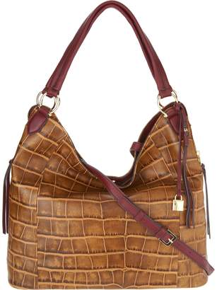 Croco G.I.L.I. Got It Love It G.I.L.I. Embossed Italian Leather Slouchy Wing Hobo