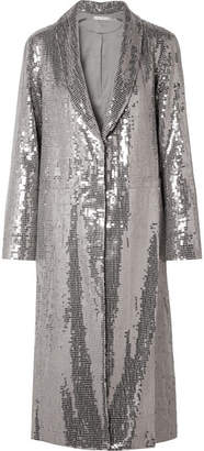 Alice + Olivia Angela Sequined Crepe Coat - Silver
