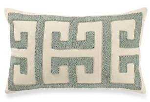 Ribbon Embroidered Oblong Throw Pillow in Spa