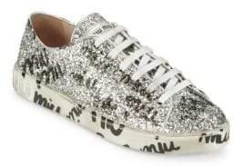Miu Miu Logo Scribble Glitter Sneakers