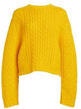 R 13 Aran Cropped Wool Cable Knit Sweater