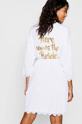 boohoo Here Comes the Bride Lace Detail Robe