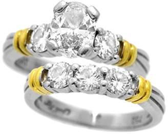 Scott Kay Platinum & 18K Yellow Gold Oval Cut Diamond Engagement Ring