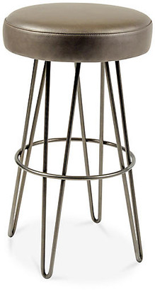 Le-Coterie Hairpin Swivel Barstool - Pewter/Mushroom Leather