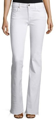 7 For All Mankind Boot-Cut Jeans W/Released Hem, White $189 thestylecure.com