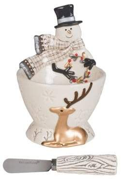 Fitz & Floyd Wintry Woods Ceramic Two-Piece Snowman Footed Bowl Spreader Set