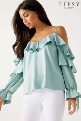 Next Womens Lipsy Cold Shoulder Ruffle Blouse