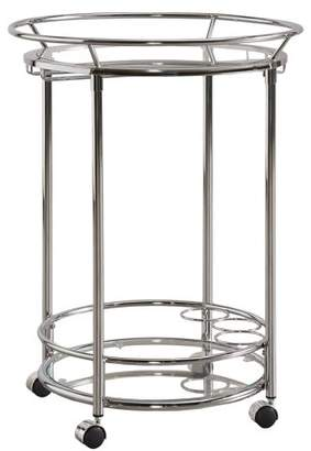 clear Generic Chelsea Lane Chrome Tempered Glass Metal Kitchen Cart