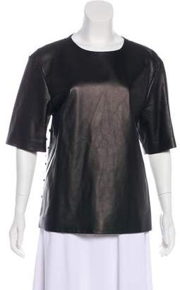 Ungaro Leather-Accented Short Sleeve Top w/ Tags