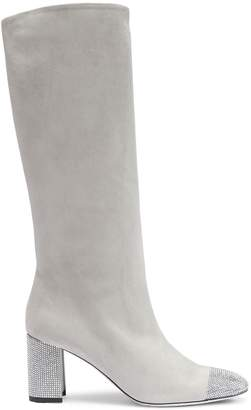 Rene Caovilla Strass heel suede knee high boots