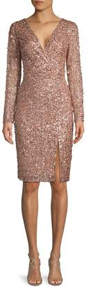 Adrianna Papell Embellished Wrap Dress