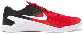 Nike Training - Metcon 4 Rubber-Trimmed Mesh Sneakers - Red