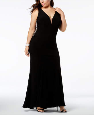 Xscape Evenings Plus-Size Plunging Rhinestone-Embellished Gown