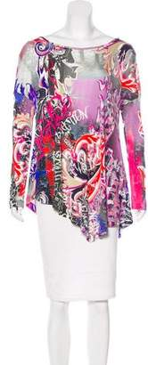 Versace Printed Bateau Neck Top