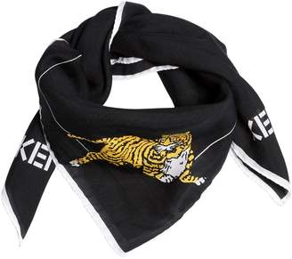 Kenzo Tiger Printed Cotton Silk Square Scarf