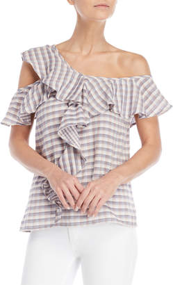 Jessica Simpson Pink Gingham One-Shoulder Ruffle Top