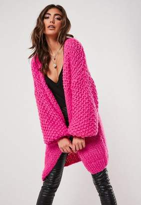Missguided Premium Pink Chunky Hand Knit Cardigan