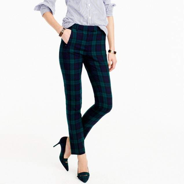 Cropped Maddie pant in Black Watch two-way stretch wool