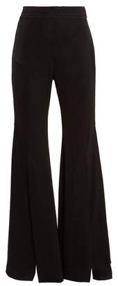 Ellery Higher And Higher Wide Flared Crepe Trousers - Womens - Black