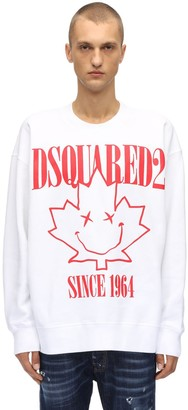 DSQUARED2 Printed Cotton Jersey Crewneck Sweater